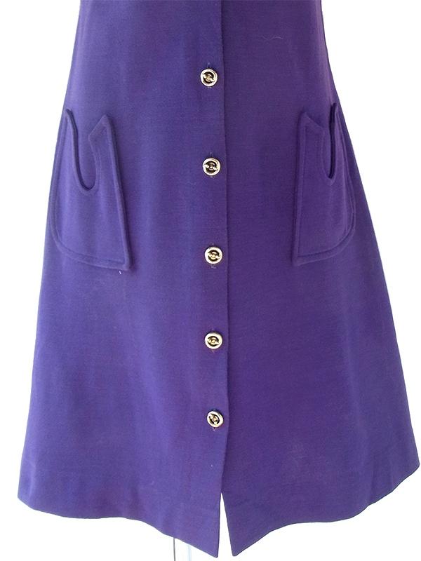 ヨーロッパ古着 フランス買い付け 60年代製 パープル X シームデザイン ポケット付き ヴィンテージ ワンピース 20FC503