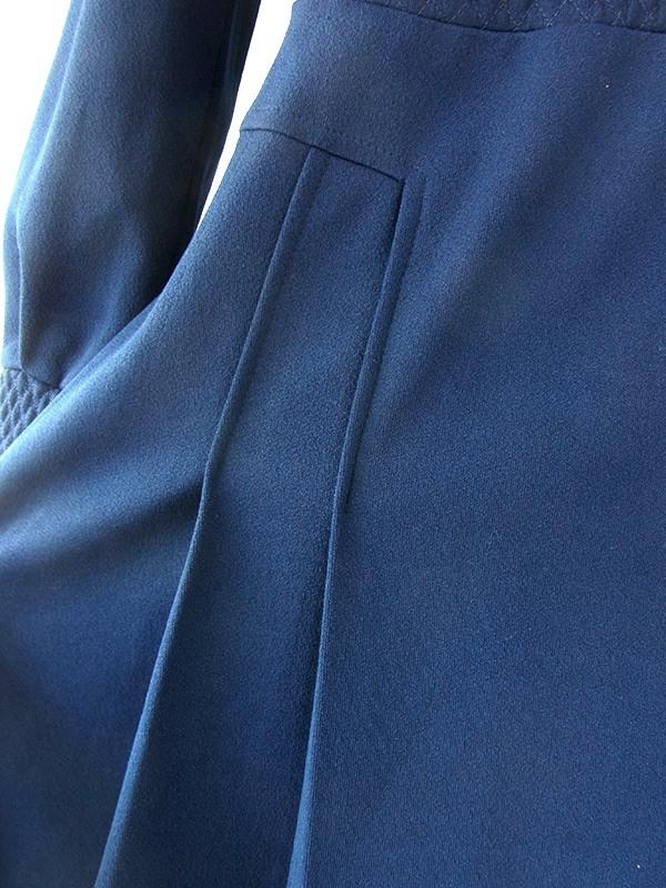 ヨーロッパ古着 フランス買い付け 70年代製 ロイヤルブルー X ステッチで生地を膨らまえた ワンピース 20FC608