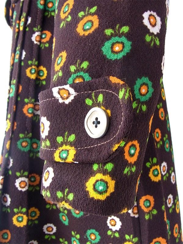 【送料無料】フランス買い付け 70年代製 ブラウン X カラフル花柄 ベルト風デザイン レトロ ワンピース 20FC612【ヨーロッパ古着】