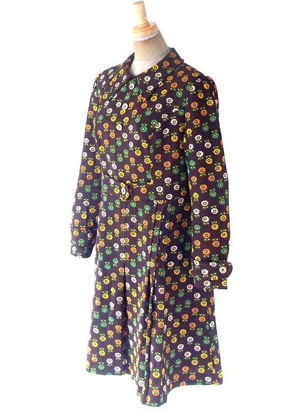 フランス買い付け 70年代製 ブラウン X カラフル花柄 ベルト風デザイン レトロ ワンピース 20FC612
