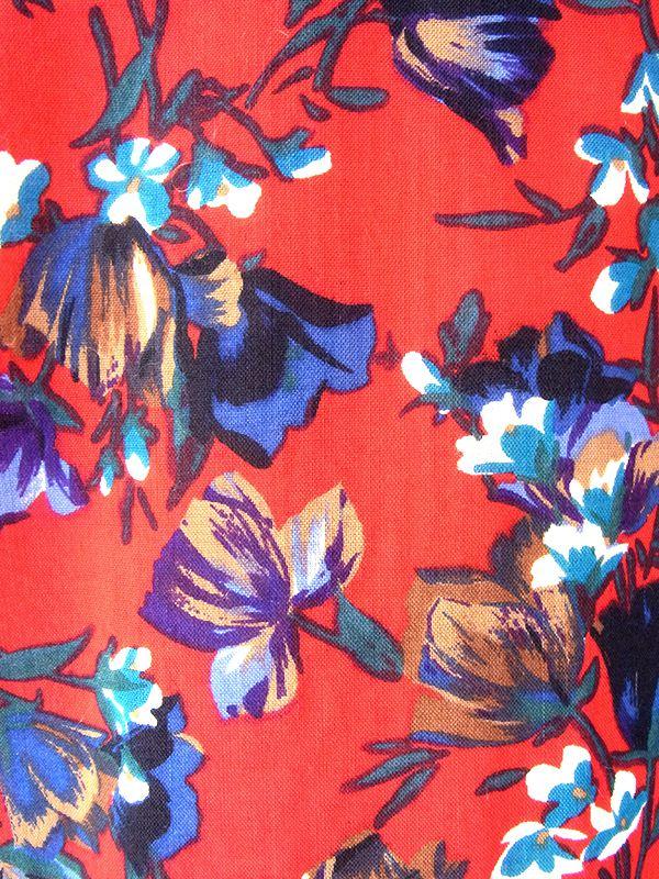 ヨーロッパ古着  フランス製 レッド X カラフル花柄 ブルーパイピング ヴィンテージ ワンピース 20FC613