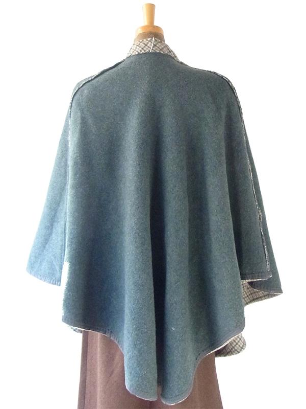 ヨーロッパ古着 フランス買い付け 60年代製 グリーン X ベージュ チェック柄 ポケット付き ウール ポンチョ 20FC618