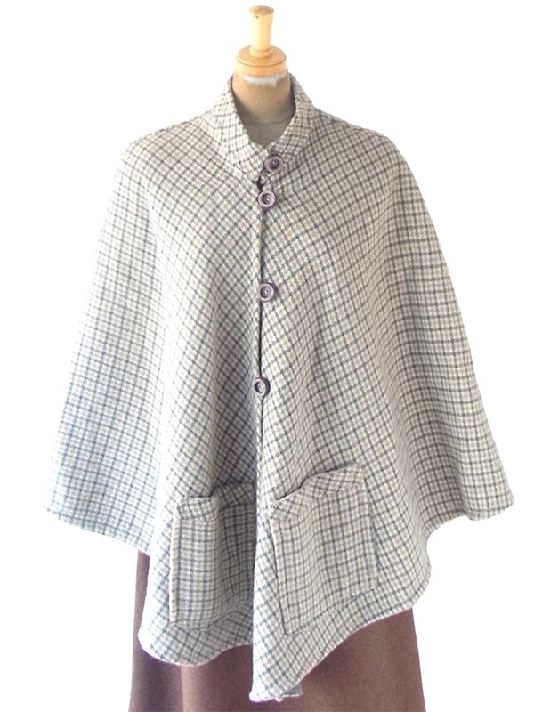 ヨーロッパ古着 フランス買い付け 60年代製 グリーン X ベージュ チェック柄 ポケット付き ウール ポンチョ 20FC619