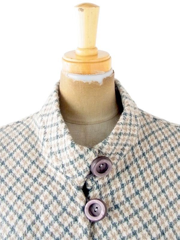 ヨーロッパ古着 フランス買い付け 60年代製 グリーン X ベージュ チェック柄 ポケット付き ウール ポンチョ 20FC620
