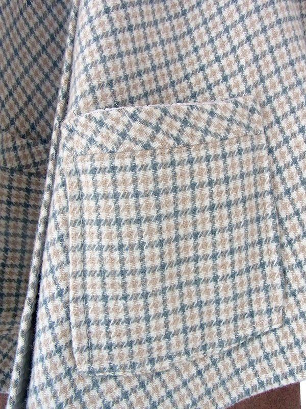 ヨーロッパ古着 フランス買い付け 60年代製 グリーン X ベージュ チェック柄 ポケット付き ウール ポンチョ 20FC622