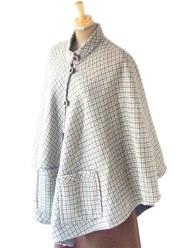 ヨーロッパ古着 フランス買い付け 60年代製 グリーン X ベージュ チェック柄 ポケット付き ウール ポンチョ 20FC623