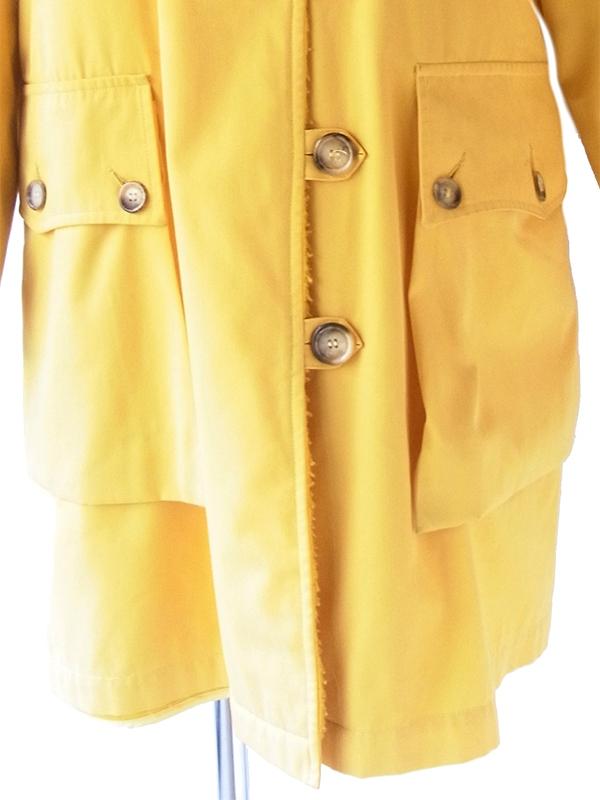 ヨーロッパ古着 フランス買い付け 60年代製 マスタードイエロー X 裏地ボア・キルティング コート 20FC701