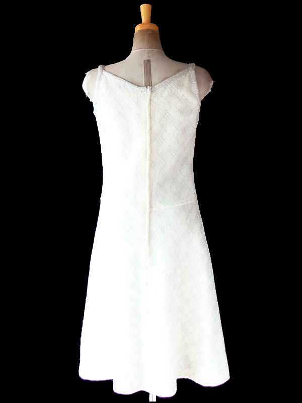 ヨーロッパ古着 フランス買い付け 60年代製 アイボリー X シルバー ラメ糸織り ストラップ ニット ドレス 20FC712