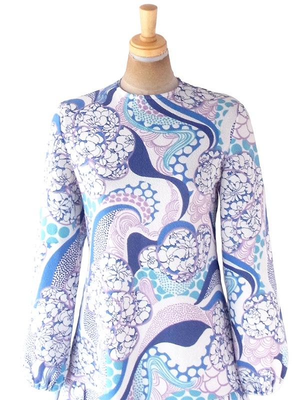 フランス買い付け 70年代製 ホワイト X ブルー・パープル レトロ花柄 ドロップウェスト プリーツ ワンピース 20FC713