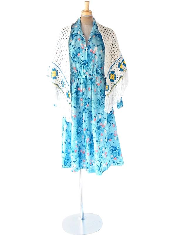 フランス買い付け 60年代製 ホワイト X ターコイズブルー・イエロー マーガレット柄 フリンジ付き ウール ニット ショール 20FC715