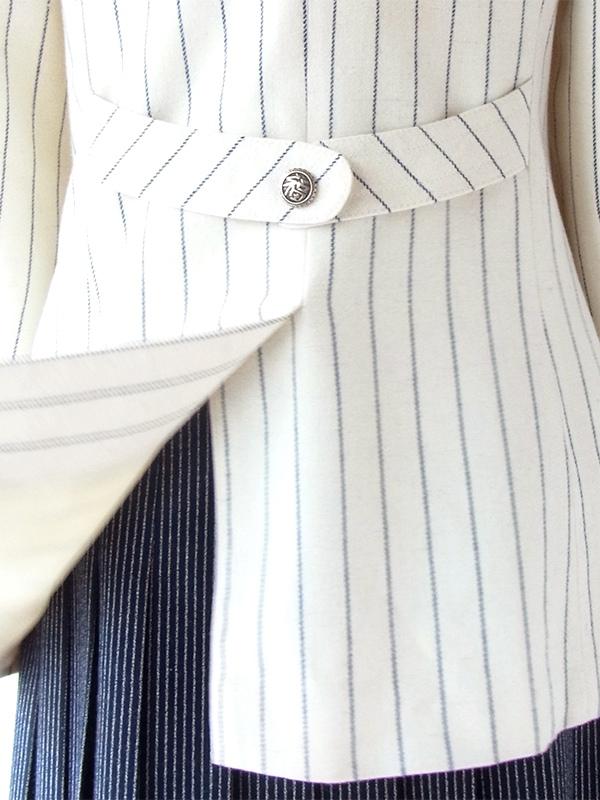【送料無料】60年代フランス製 ホワイト X ブルー ピンストライプ ヴィンテージ ウール ジャケット 20FC717【ヨーロッパ古着】