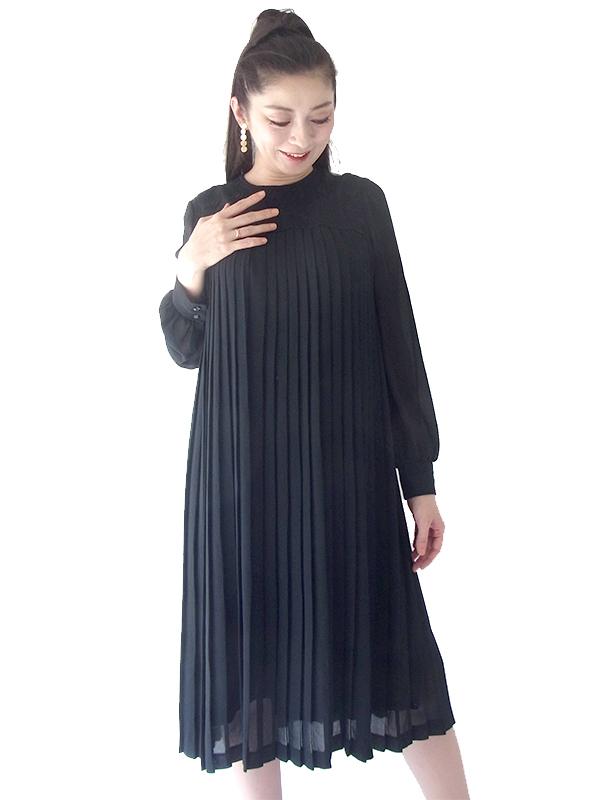 70年代日本製 ブラック X  襟周り 花柄レース刺繍 総プリーツ ヴィンテージ ドレス 20OD100