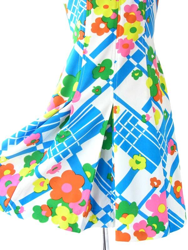 ヨーロッパ古着 ロンドン買い付け 70年代製 ホワイト X ブルー カラフル レトロ花柄 ワンピース 20OM007