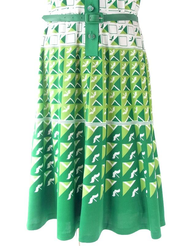 ヨーロッパ古着 ロンドン買い付け 70年代製 ホワイト X グリーン レトロ柄 ベルト付き ヴィンテージ ワンピース 20OM011