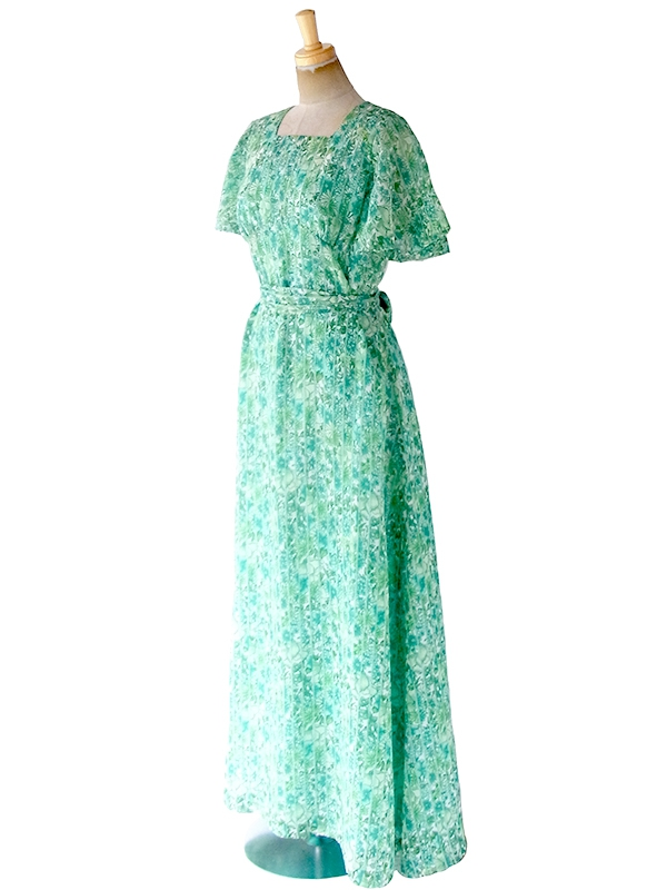 ヨーロッパ古着 ロンドン買い付け 70年代製 エメラルドグリーン X 花柄・ストライプ 共布ベルト付き マキシ ワンピース 20OM013