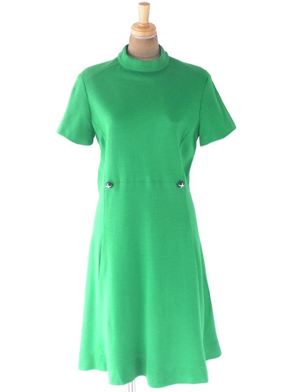ヨーロッパ古着 ロンドン買い付け 60年代製 グリーン X ファネルネック 飾りボタン・ポケット付き ワンピース 20OM016