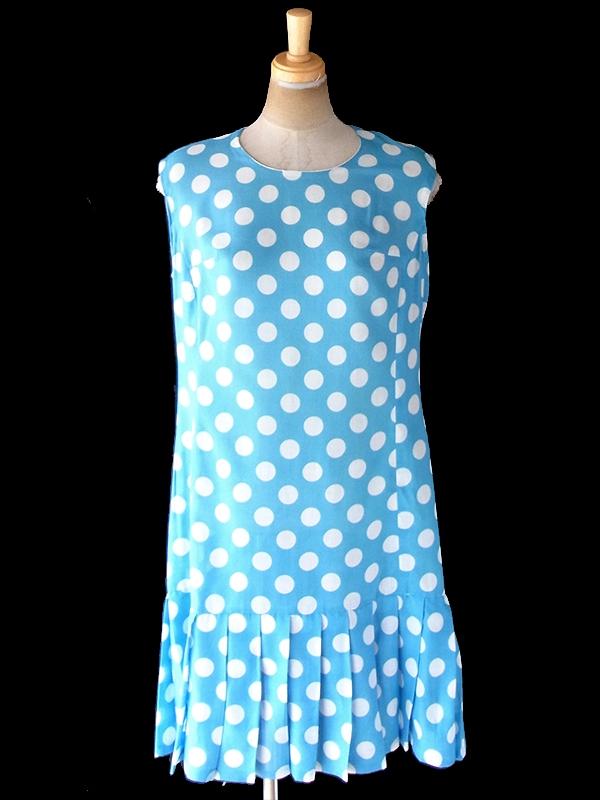 ヨーロッパ古着 ロンドン買い付け 60年代製 水色 X ホワイト 水玉 裾元プリーツ ヴィンテージ ワンピース 20OM113