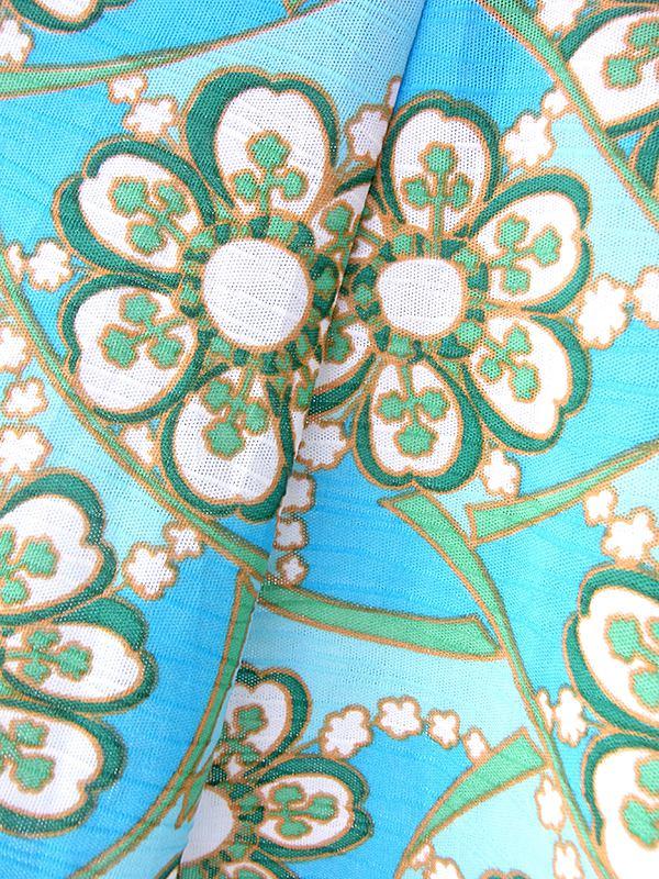 ヨーロッパ古着 60年代フランス製 水色 X グリーン・ホワイト 花柄プリント ヴィンテージ ワンピース 20OM115