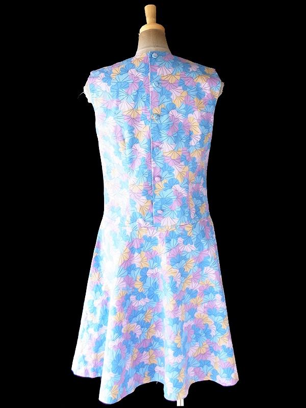 ヨーロッパ古着 ロンドン買い付け 60年代製 水色 X ピンク・パープル・イエロー 花柄プリント フレア ワンピース 20OM200