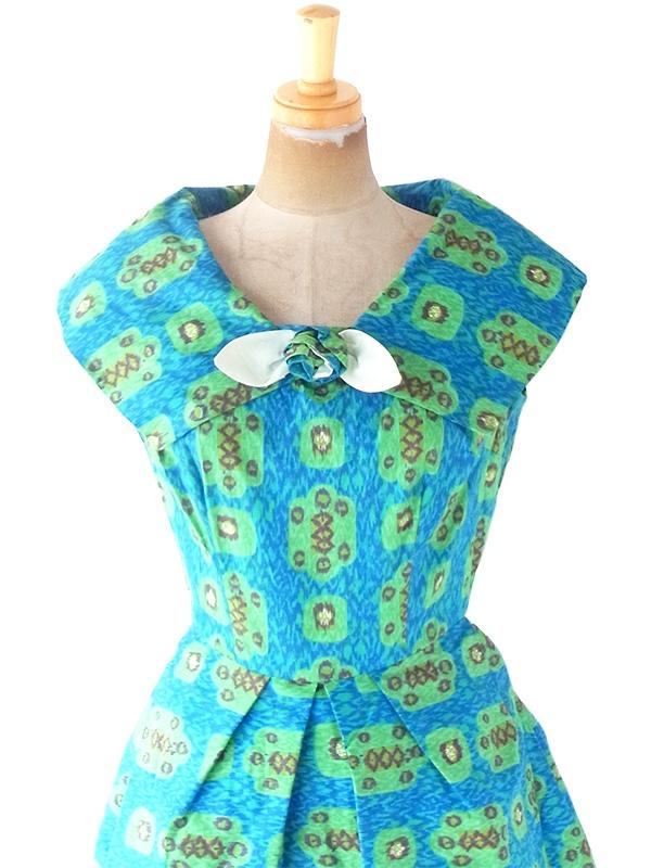 ヨーロッパ古着 60年代アメリカ製 ターコイズブルー X グリーン・ブラウン レトロ柄 ヴィンテージ ドレス 20OM300