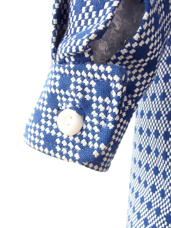 ヨーロッパ古着 ロンドン買い付け 70年代製 ブルー X ホワイト ジャガード織り厚手生地 フロントジップ ワンピース 20OM303