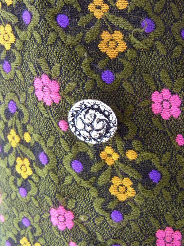 ヨーロッパ古着 ロンドン買い付け オリーブグリーン X レトロ柄織り 山道テープ チロリアン ワンピース 20OM307