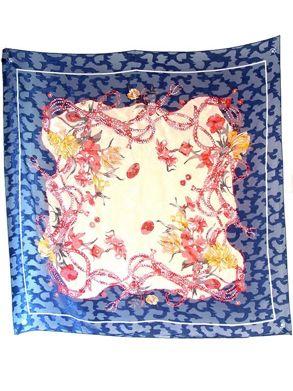 ロンドン買付 ブルー X ベージュ 花柄モチーフ 透過性のある生地 アンティーク スカーフ 20UK00