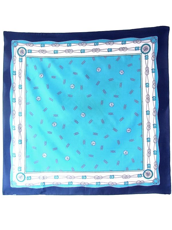 【ヨーロッパ古着】ロンドン買付 70年代製 ブルー X 水色・グリーン 花柄 コンパス X ローププリント スカーフ 20UK06【レトロ】