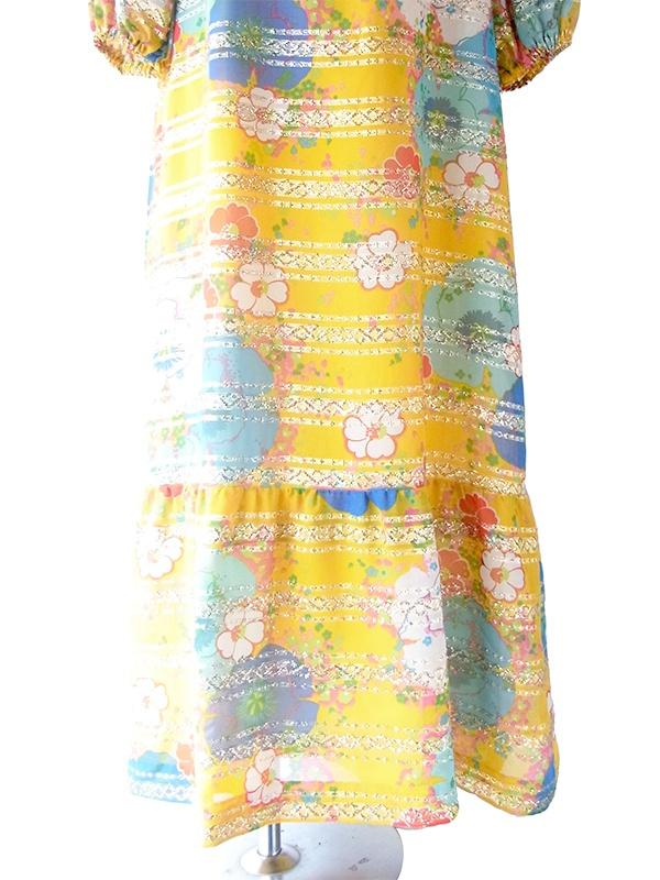 【送料無料】ロンドン買い付け 70年代製 イエロー X カラフル 花柄 ゴールドテープ マキシワンピース 20UK09【ヨーロッパ古着】