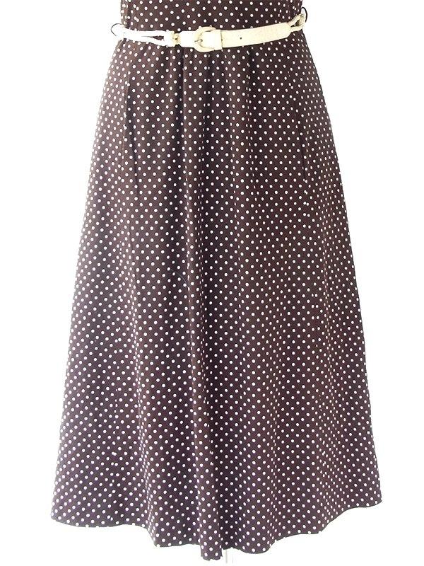 ヨーロッパ古着 ロンドン買い付け 70年代製 ブラウン X ホワイト 水玉 ベルト・ポケット付き ヴィンテージ ワンピース 21BS002