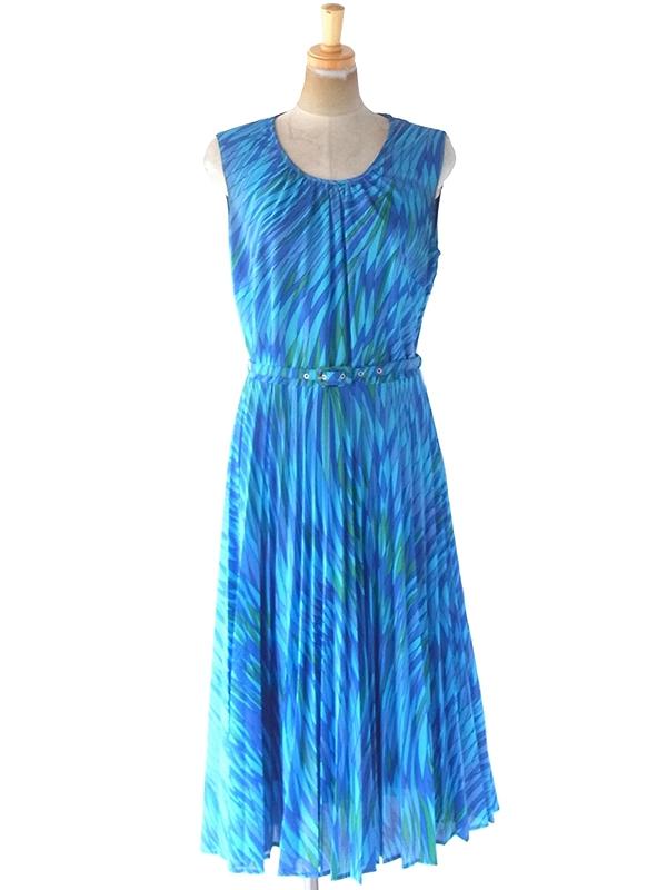 ヨーロッパ古着 ロンドン買い付け 70年代製 ブルー・水色・グリーン レトロ柄 ベルト付き プリーツ ワンピース 21BS007