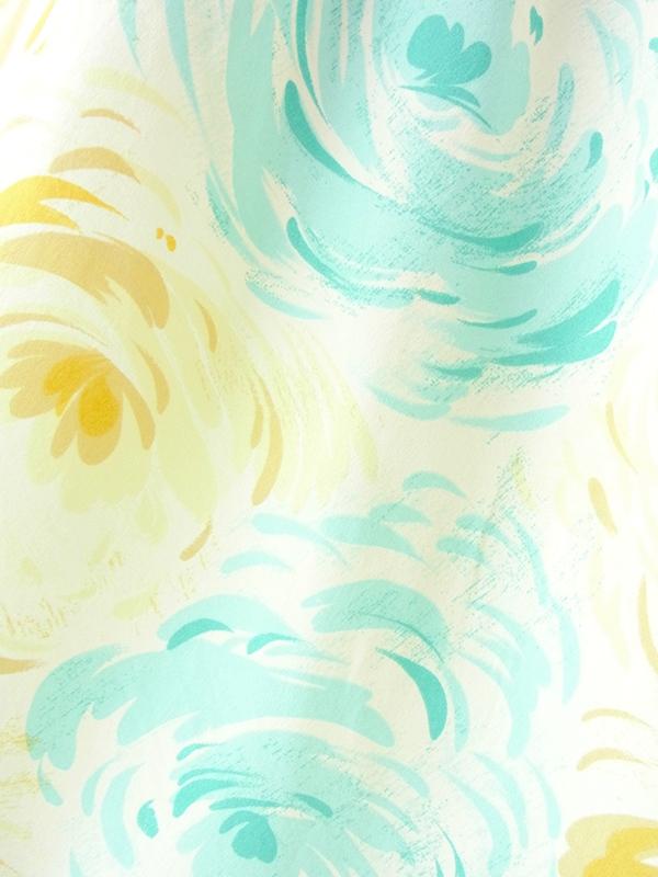 ヨーロッパ古着 ロンドン買い付け 60年代製 淡いレモン色  X 水色 バラモチーフプリント フレア スカート 21BS018