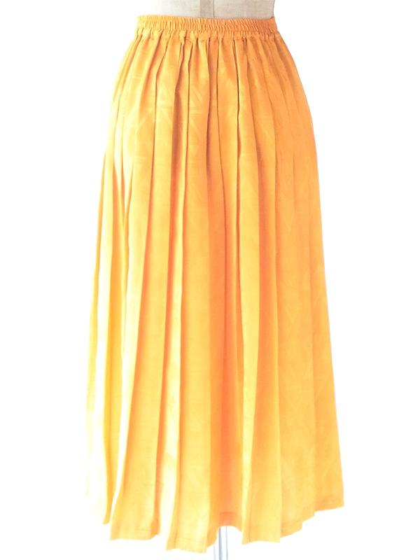 ヨーロッパ古着 ロンドン買い付け 光沢のあるゴールド X レトロ柄が浮かぶ プリーツ スカート 21BS023
