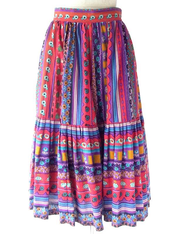 ヨーロッパ古着 ロンドン買い付け 70年代製 カラフル チロリアン柄 ティアード プリーツ スカート 21BS042