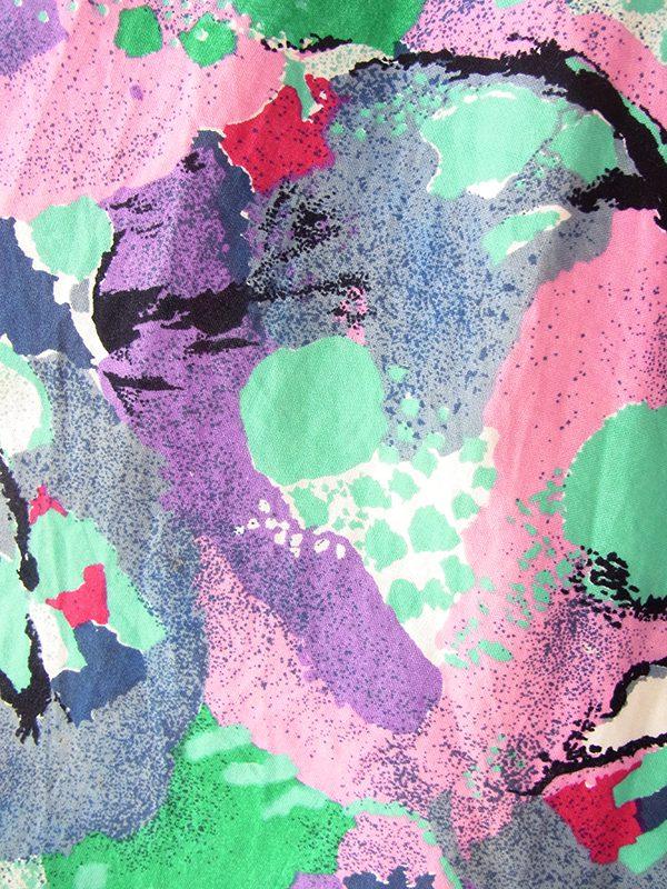 ヨーロッパ古着 ロンドン買い付け パープル X ピンク・水色 レトロ柄 ポケット付き ストラップ ワンピース 21BS103