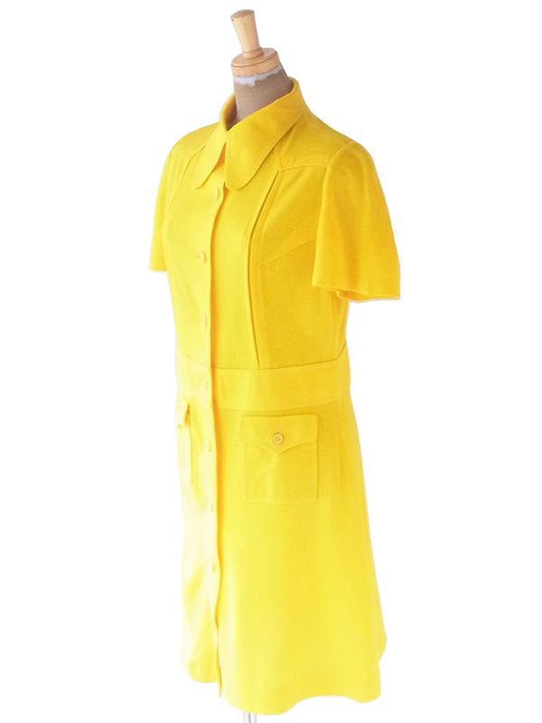 ヨーロッパ古着 ロンドン買い付け 60年代製 イエロー X シームデザイン ポケット付き ヴィンテージ ワンピース 21BS108