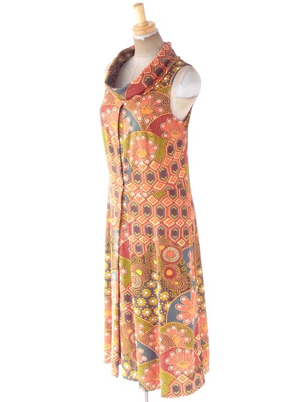 ヨーロッパ古着 ロンドン買い付け 70年代製 オレンジ X レトロ柄 ロールカラー ロング丈 ワンピース 21BS205