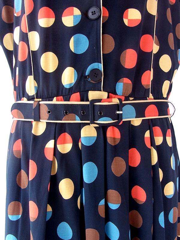 ヨーロッパ古着 ロンドン買い付け ブラック X カラフル 水玉  共布ベルト付き ヴィンテージ ワンピース 21BS217