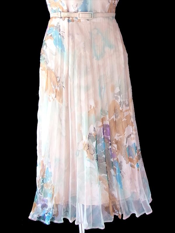 ロンドン買い付け 70年代製 淡いピンク X 花柄 共布ベルト付き シフォン地 プリーツ ワンピース 21OM608