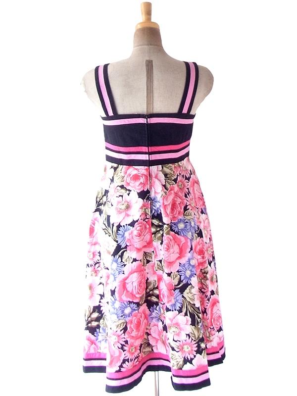 ヨーロッパ古着 フランス買い付け 60年代製 ブラック X ピンク テープ カラフル花柄スカート切り返し ワンピース 21FC006