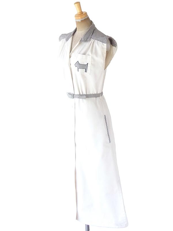 ヨーロッパ古着 フランス買い付け 60年代製 ホワイト X ブラック チェック柄 犬のアップリケ・共布ベルト付き ワンピース