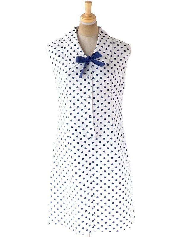 ヨーロッパ古着 フランス買い付け ホワイト X ブルー 水玉 リボン付き くるみボタン ワンピース 21FC018