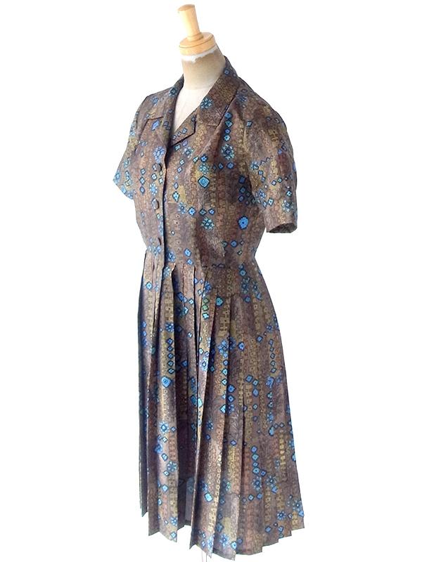 ヨーロッパ古着 フランス買い付け 70年代製 光沢のあるゴールド X シアン レトロ柄 プリーツ ドレス 21FC019