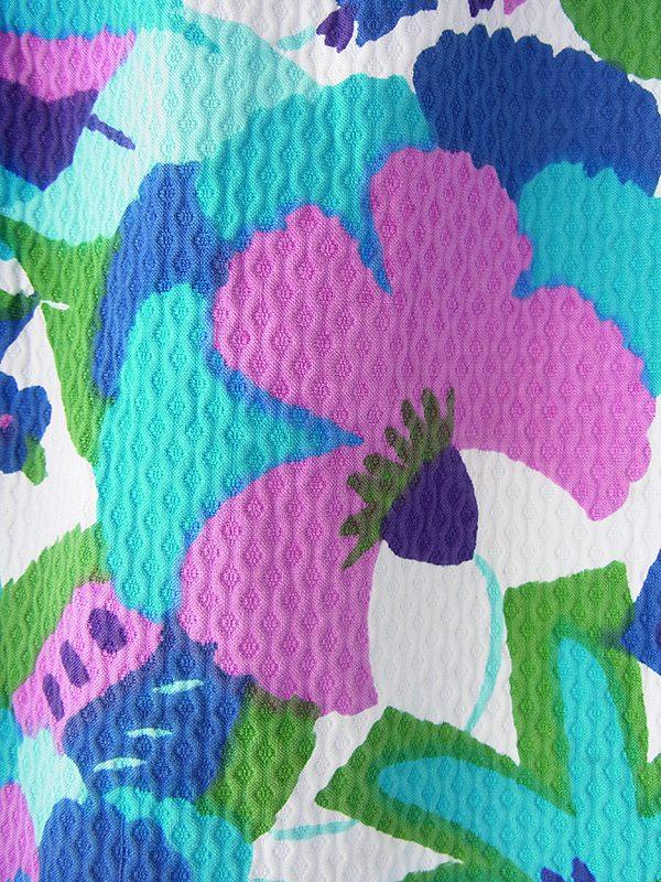ヨーロッパ古着 フランス買い付け 60年代製 ブルー・パープル 花柄 ワッフル地 共布ベルト付き ワンピース 21FC101