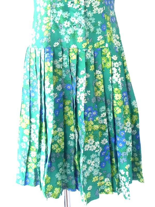 ヨーロッパ古着 フランス買い付け 60年代製 グリーン X 花柄 ヴィンテージ プリーツ ワンピース 21FC102