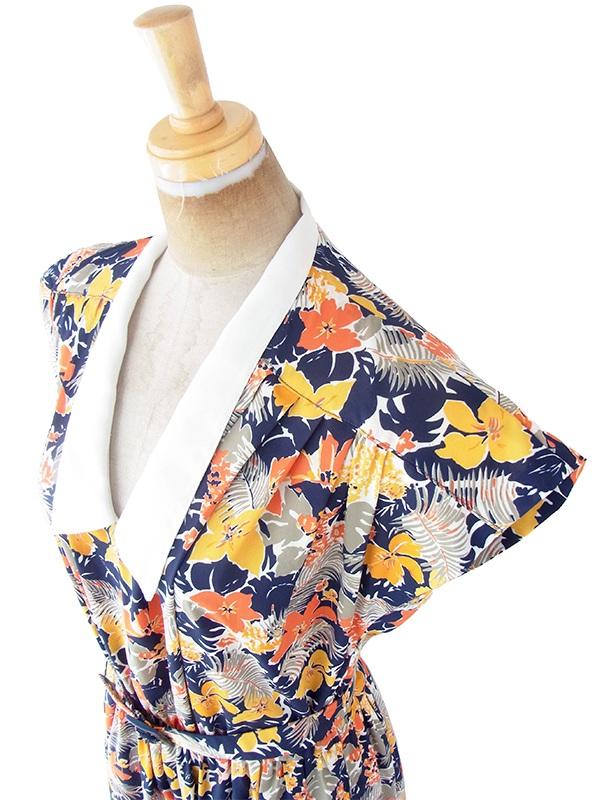 ヨーロッパ古着 フランス買い付け 70年代製 ブルー X カラフル花柄 ホワイト襟 共布ベルト付き ワンピース 21FC108
