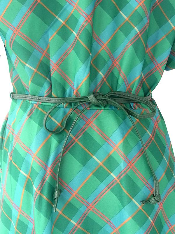 ロンドン買い付け 70年代製 グリーン X オレンジ・ブルー  チェック柄 ベルト付き レト ワンピース 20OM003