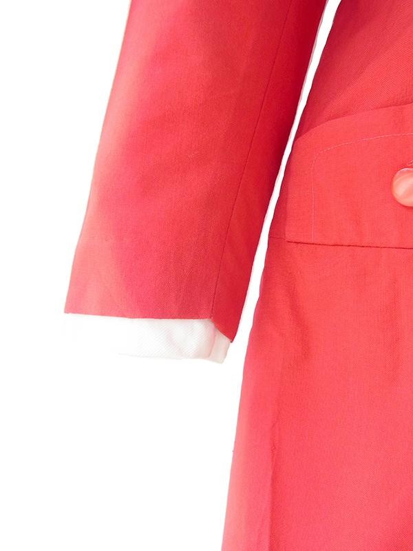 ヨーロッパ古着 ロンドン買い付け 60年代製 レッド X ホワイト ボックスプリーツ ワンピース 20OM005