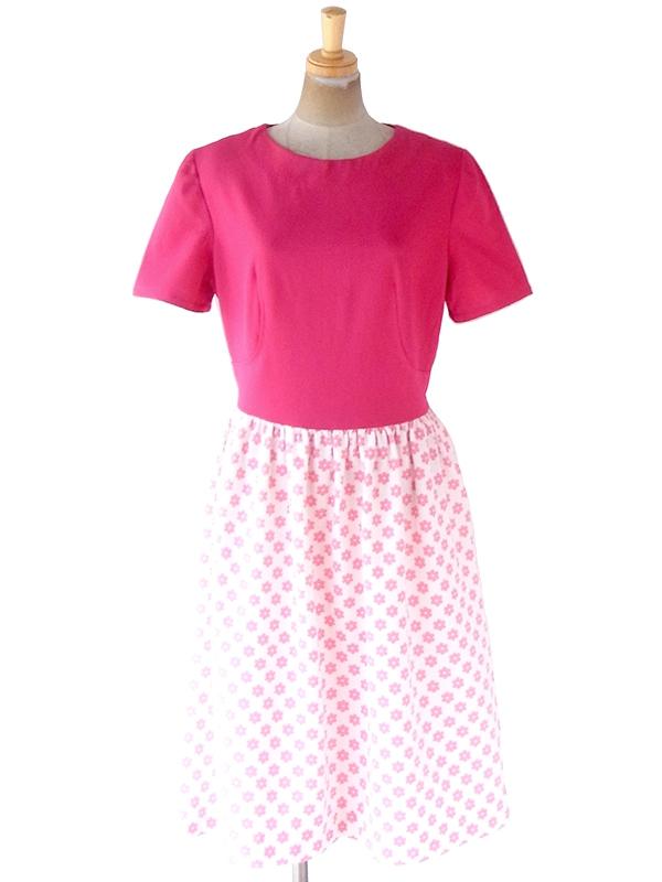 【送料無料】ロンドン買い付け 70年代製 ピンク X ホワイト 花柄 切り返し レトロ ワンピース 21OM006【ヨーロッパ古着】