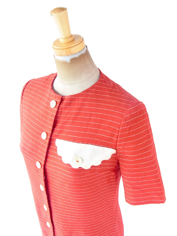 ヨーロッパ古着 ロンドン買い付け 60年代製 レッド X ホワイト ボーダー 飾りフラップ付き ウール ワンピース 21OM100
